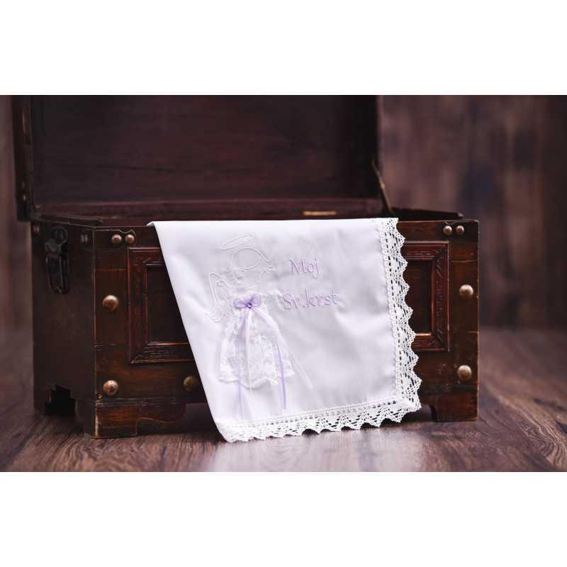 Krstni prtiček Moj sveti krst s čipkasto oblekico