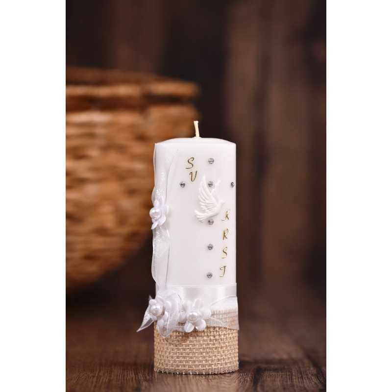 Krstna okrogla mala sveča – Organza trak z rožicami