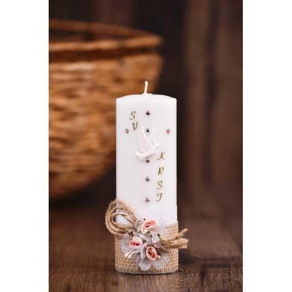 Krstna okrogla mala sveča – Juta z rožicami