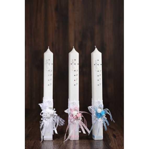 Oglata krstna sveča - Rožice s srebrno sponko 2