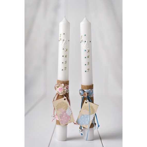 Okrogla krstna sveča juta z angelčkom