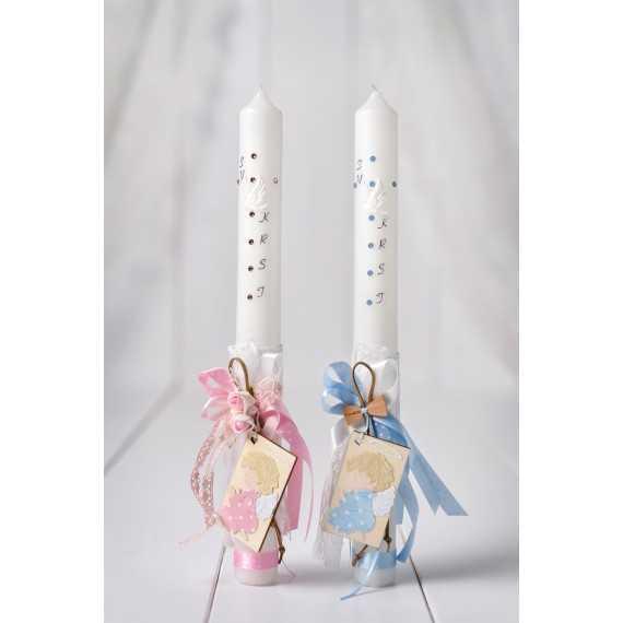 Okrogla krstna sveča angel na leseni tablici