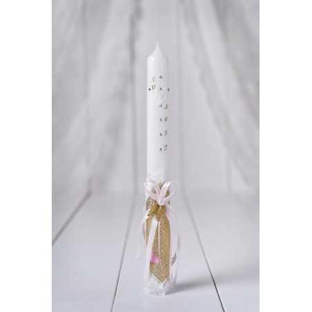 Okrogla krstna sveča zlata angelska krila