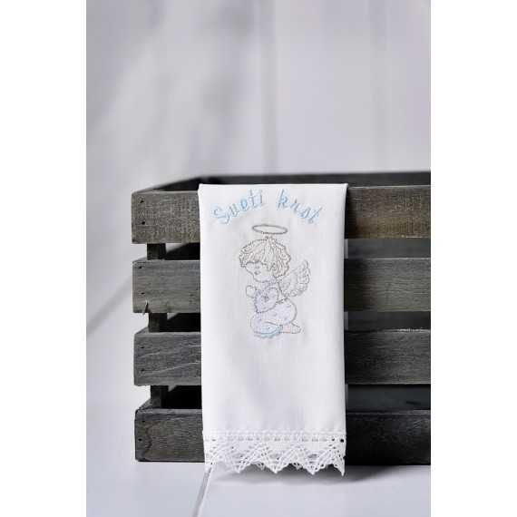 Krstni prtiček Angel moli s pikicami