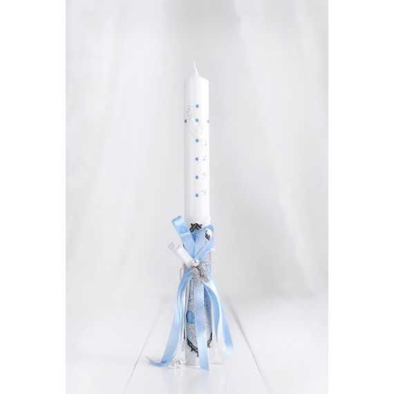 Okrogla krstna sveča srebrna angelska krila & usnje