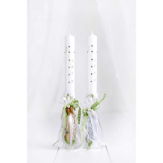 Okrogla krstna sveča zelena angelska krila