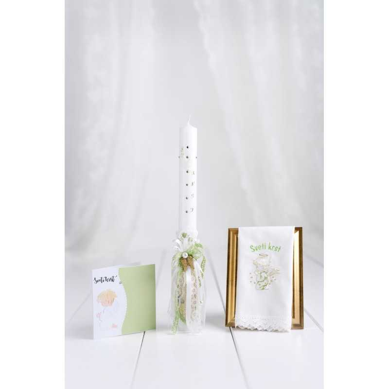 Komplet okrogla krstna sveča zlato usnje/angelska krila + krstni prtiček angel kleči + voščilnica