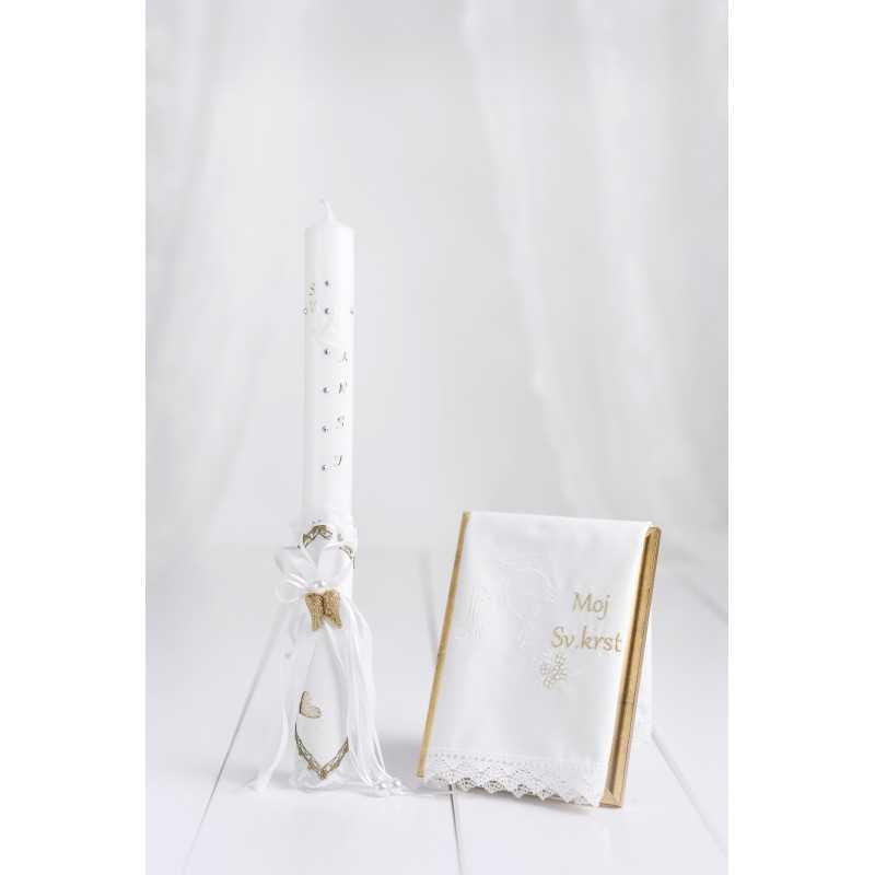 Komplet okrogla krstna sveča belo usnje/angelska krila + krstni prtiček moj sveti krst