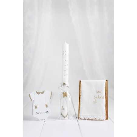 Komplet okrogla krstna sveča belo usnje/angelska krila  + krstni prtiček moj sveti krst + voščilnica bodi