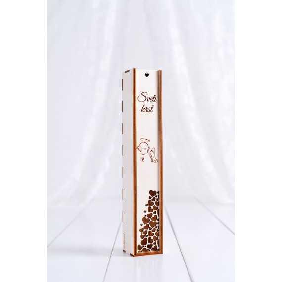 Lesena darilna škatla za shranjevanje velike krstne sveče
