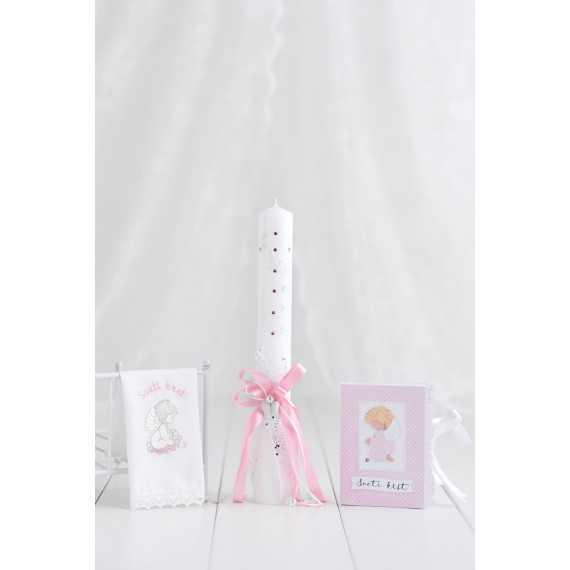 Komplet okrogla krstna sveča bela angelska krila + krstni prtiček...
