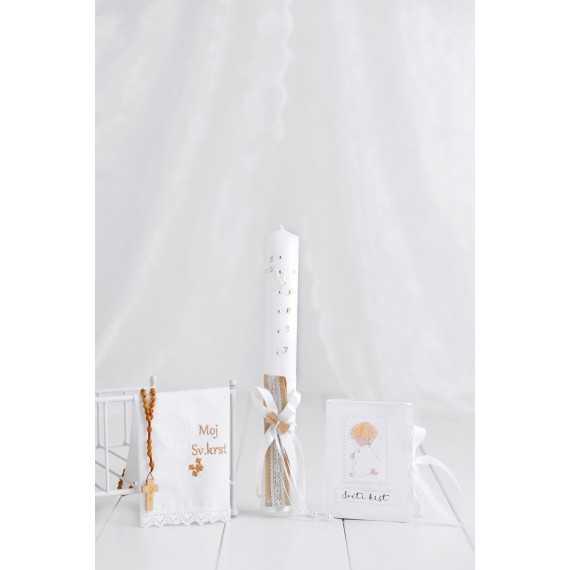 Komplet okrogla krstna sveča leseni metuljček + krstni prtiček angel...