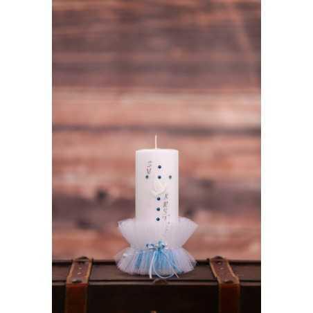 Krstna okrogla mala sveča - Pikasti trak