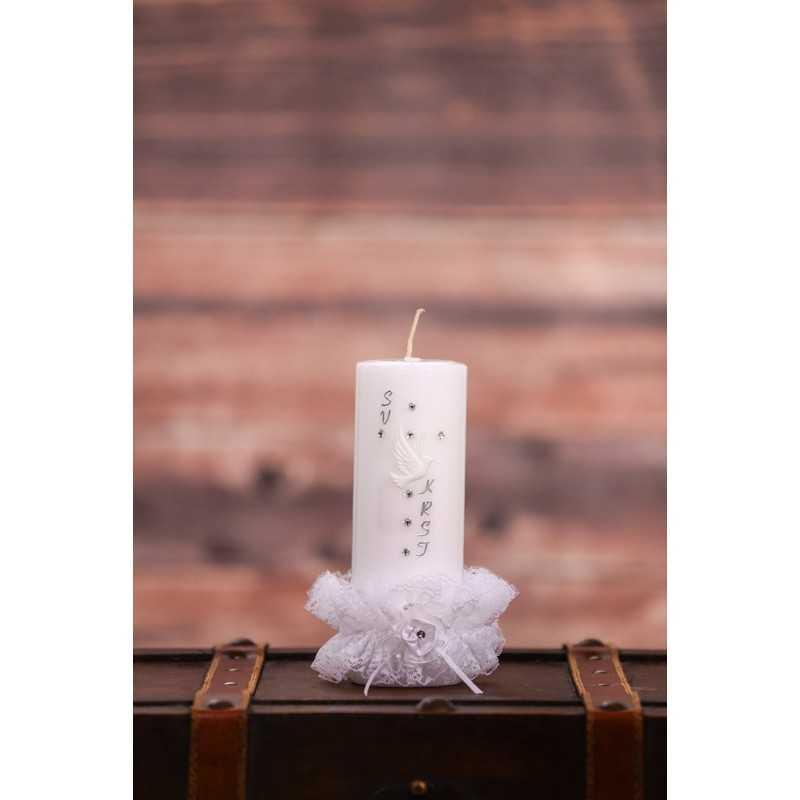 Krstna okrogla mala sveča - Čipkasta oprijemalka