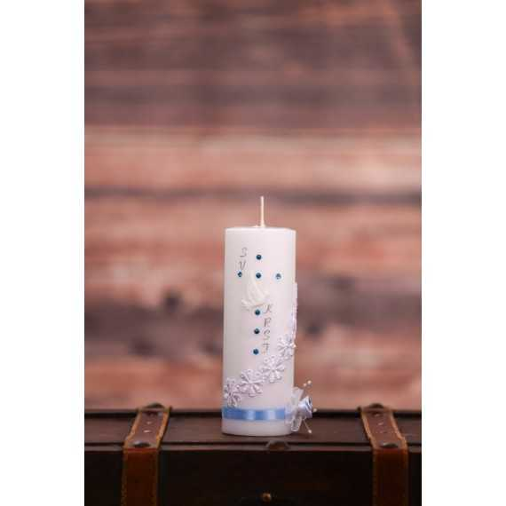 Krstna okrogla mala sveča - Vezene male rožice