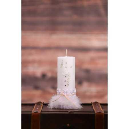 Krstna okrogla mala sveča - Perje
