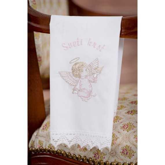 Krstni prtiček Angel z golobčkom v roki