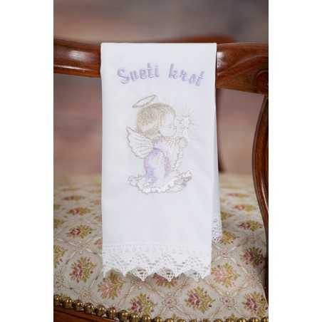 Krstni prtiček Angel svečka