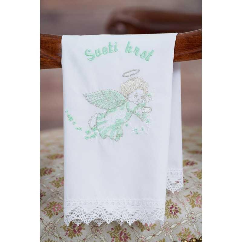 Krstni prtiček Angel zvezdice na traku