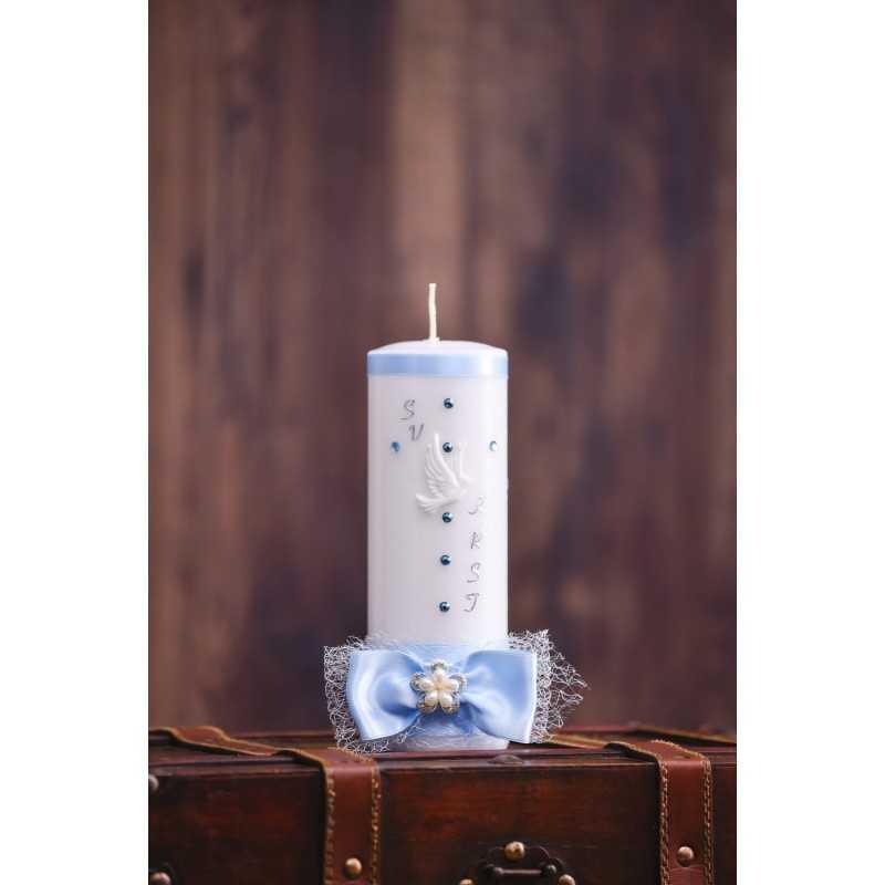 Krstna okrogla mala sveča - Mašna s sponko